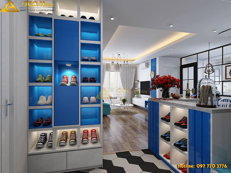 thiết kế nội thất tủ giầy căn hộ 120m2