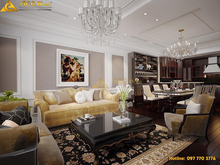 thiết kế nội thất phòng khách tân cổ