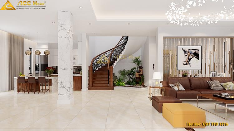 thiết kế cầu thang lên tầng 2