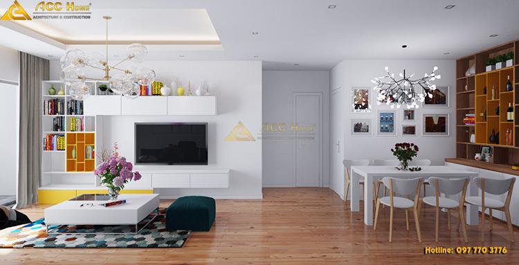 Phòng khách được thiết kế liên phòng