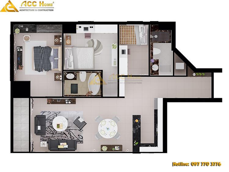 thiết kế nội thất diện tích nhà 60m2