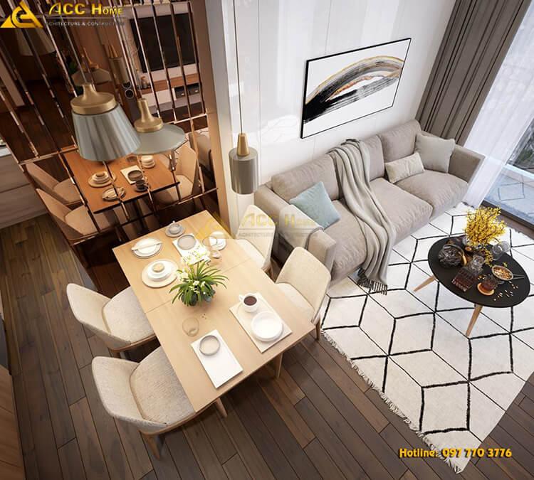không gian phòng khách bàn ăn