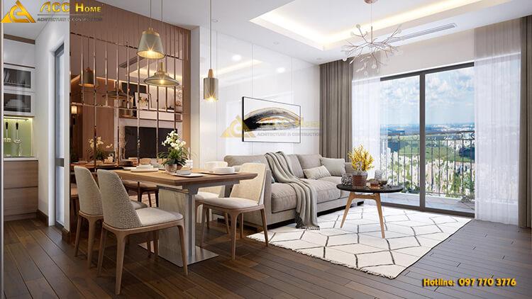 phòng ăn được thiết kế cạnh phòng khách