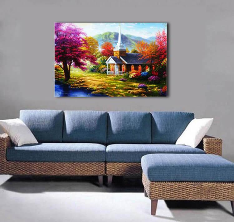 Tranh sơn dầu treo tường phòng khách