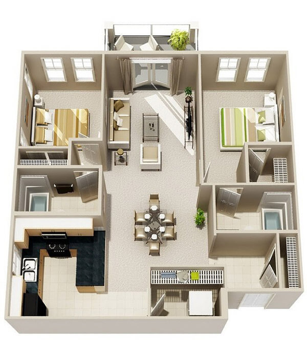 Thiết kế nội thất căn hộ vuông