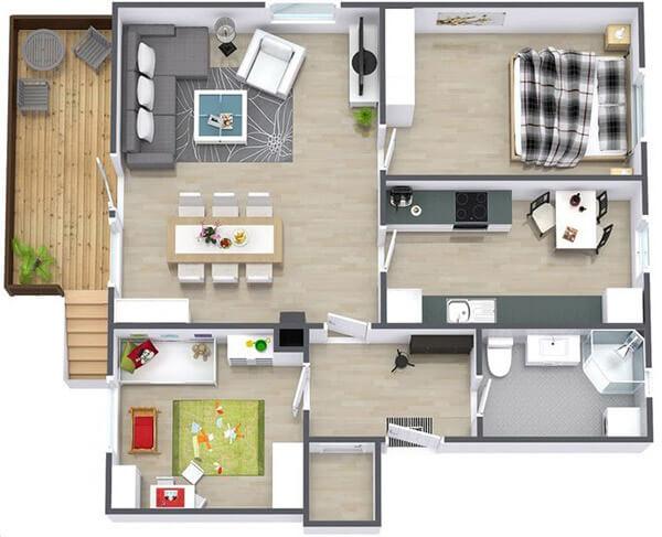 Chung cư chung cư cho gia đình nhỏ với nội thất trang nhã