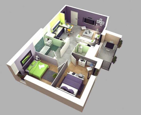 Màu sắc độc đáo cho chung cư hai phòng master