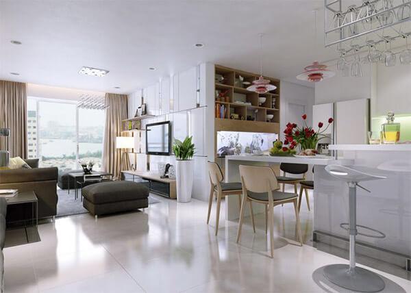 Thiết kế nội thất chung cư mang ko gian mở kiểu Mỹ