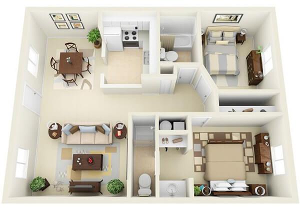 Thiết kế chung cư nội thất hài hoà xinh xắn