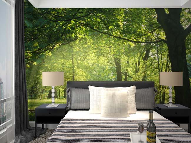 sử dụng giấy dán tường cho phòng bedroom ko gian chật hẹp