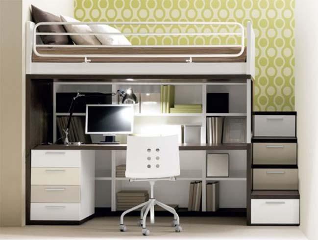 Giường ngủ tích hợp bàn làm việc