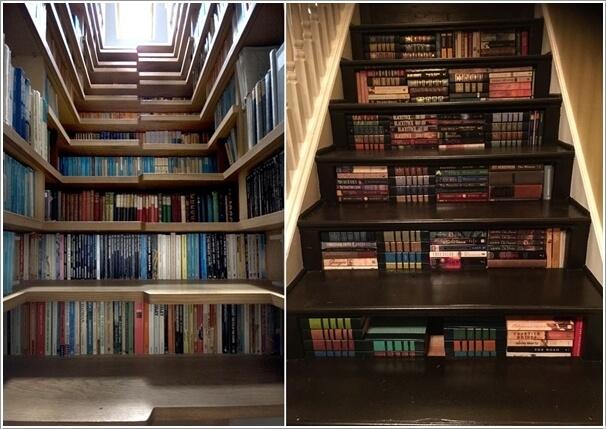 bậc cầu thang là khoảng trống rộng lớn đủ để bạn chứa được cả kho sách