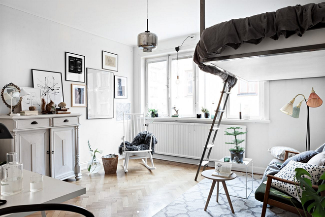 Gác lửng - nơi đặt giường ngủ với design giản dị