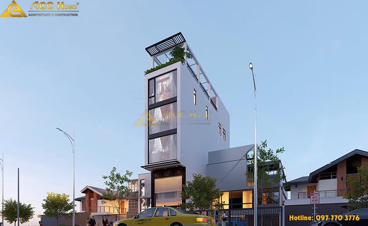 view tổng quan căn nhà phố 5 tầng